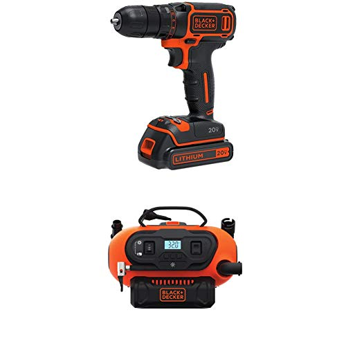 BLACK+DECKER BDCDD120C 20V MAX Lithium Single Speed Drill/Driver and BDINF20C 20V Lithium Cordless Multi-Purpose Inflator (Tool Only)