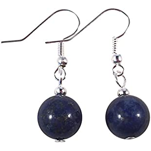 LAPIS LAZULI EARRINGS - Round 10mm Beads on Nickelfree Silver Tone Hooks:Amedama