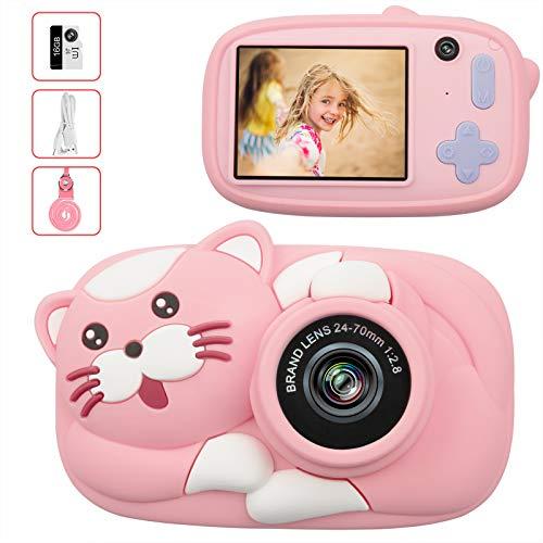 LeaderPro Cámara para Niños,Digitale Selfie para Niños,Video cámara Infantil con Pantalla de 2.4Pulgadas,HD 2600 MP/1080P Doble Objetivo,a Prueba de Golpes,Carcasa de Silicona (Rosa)
