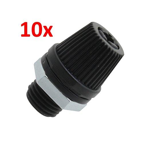 10 Stück! Kabelzugentlastung mit Verschraubung, Metallmutter M10x1, schwarz