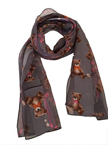 Pamper Yourself Now Schal grau mit Einem Design Bär Plüsch. Schal dünn und hübsch.–-Grey Teddy Bear Thin Scarf