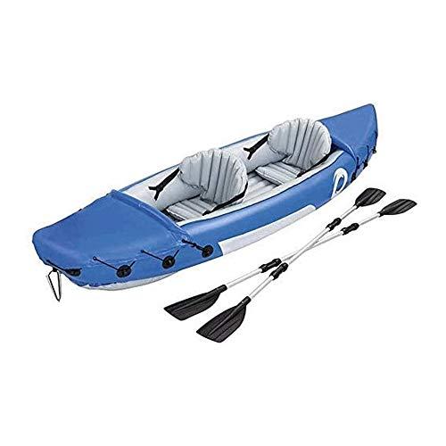 BZLLW Kayak Inflable, 2 Man Canoa, Kayak Doble Inflable Canoa, Kayak de mar con el Bolso, manómetro y Fin, por Pescador y recreativas, 321 * 88cm