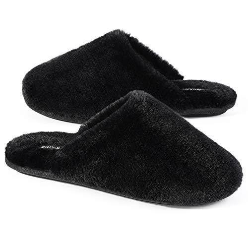Snug Leaves Damen Flauschige Hausschuhe mit Kunstfell und Memory Foam, Sexy und Klassische Pantoffeln Schwarz,42/43 EU