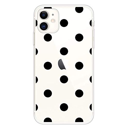 Keyihan Funda para Apple iPhone 11-6,1 Pulgadas Patrón Lunares Negros Anti-choques Carcasa Protectora Transparente Claro Suave TPU Silicona Shockproof Bumper Case para Chicas