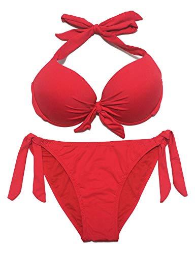 EONAR Damen Bademode Nackenträger Push up Bikinioberteil mit Underwire Einstellbar Seitlich Bindungen Bikini-Sets, Gr.- 80D/85C/85D/90C (2XL)Red)