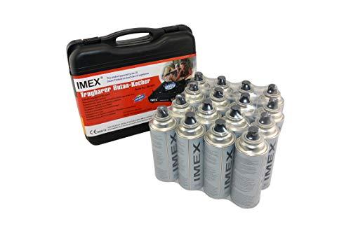 i-mex IMEX Camping Gaskocher Set Butan-Kocher im Tragekoffer mit 16 Gaskartuschen