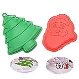 KeepingcooX® - Molde de silicona 3D, diseño de Papá Noel y árbol de Navidad, 20 x 24,5 x 3 cm y 25 x 28 x 4,5 cm, color rojo y verde