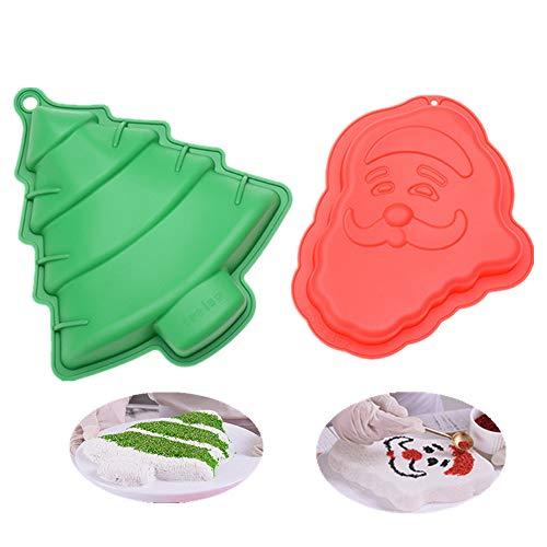 Große Weihnachtsmousse Kuchenform 3D Silikon Backform Antihaft Santa Claus und Weihnachtsbaum Neuheit Dose 20 x 24,5 x 3 cm & 25 x 28 x 4,5 cm, rot & grün