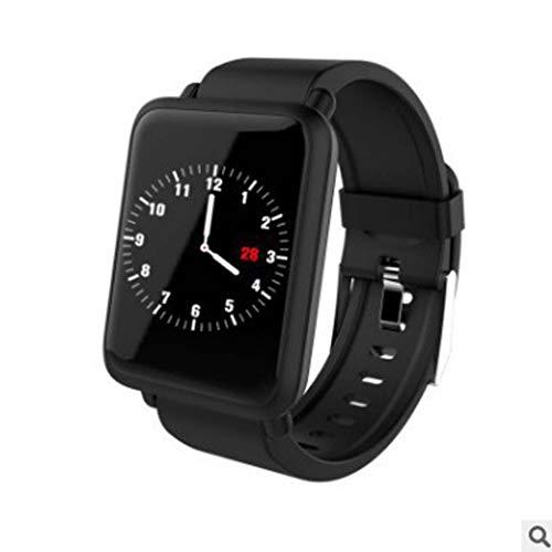 GGPUS Reloj Inteligente, Monitor de oxígeno sanguíneo para la presión sanguínea del Ritmo cardíaco, Brazalete WeChat recordatorio Impermeable de 1.3 Pulgadas,Black