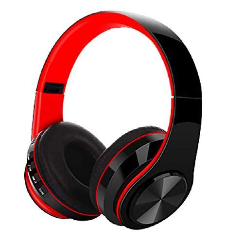 B39 bluetooth over ear kopfhörer, wireless faltbares stereo headset, kabelloser schalldämmung kopfhörer mit eingebautem mikrofon micro sd/tf fm, on ear headphones für phones/pads/pc (schwarz-red)