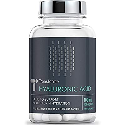 Hyaluronic Acid Capsules 100mg, 120 Count, Vegetarian, Vegan, All Natural Supplement, Gluten Free, 4 Month Supply, by Transforme