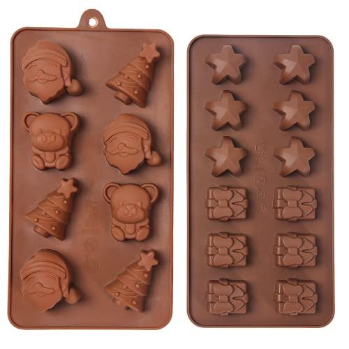 Orapink 2 Stück Weihnachten Silikon Schokoladenformen-Weihnachtsbaum,Weihnachtsmann,Weihnachtsbär,Geschenkbox,Sternformen Kuchen Pralinenform Set zum Backen.
