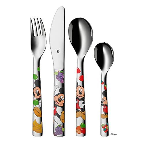 WMF Disney Mickey Mouse - Cubertería para niños 4 piezas (tenedor, cuchillo de mesa, cuchara y cuchara pequeña) (WMF Kids infantil)