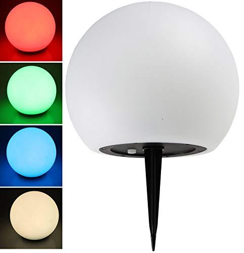 Solar Garten Kugelleuchte 20cm Durchmesser I LED RGB + Weiß I mit Erdspieß I IP44 Wetterfest I Dämmerungs-Sensor I Weisses Kunststoff Gehäuse I Verstellbare Farben