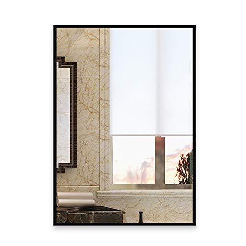 LWF Espejo De Pared Rectangular, 50x70 Cm Espejo con Marco De Metal Espejos De Pared para Baño, Dormitorio, Sala De Estar(Color:Negro)