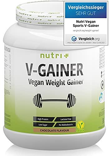 WEIGHT & MASS GAINER Schokolade 2 kg Vegan - Kalorienreiche Schoko Trinknahrung für Masseaufbau & Zunehmen - V-GAINER ohne Maltodextrin & Zucker - Protein 2000g - 38,2{2b803eb5290e535e60d50916a6c4cf12f3eeb7e8117a72cc92b094a3a793e2f0} Eiweiß
