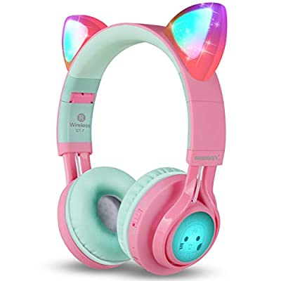 Bluetooth Headphones, Riwbox CT-7 Cat Ear LED Light Up Wireless Foldable Headphones Over Ear with Microphone and Volume Control for iPhone/iPad/Smartphones/Laptop/PC/TV (Pink&Green) by Riwbox