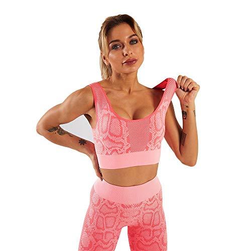 SLFPOASM Deportes Sin Costuras Fitness Serpiente Patrón Traje Traje De Yoga Damas Traje Deportivo Pink