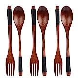 YXHZVON Juego de 6 tenedores de cuchara de madera natural, juego de cubiertos de estilo japonés, juego de tenedor de ensalada de cuchara de madera para sopa