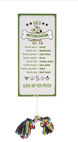G.H. Wetterstein, Wetterstation als Aluschild, Modell Hund mit Hundeseilknochen, Material Metall, Maße Schild 30 x 14 cm, schmückt Haus, Garten und Terrasse