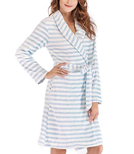 Mujer Invierno Franela Albornoz Moda Flecos Robe Pijamas Mujer Cómodo Suave Termica Batas Traje De Casa (Azul,S)