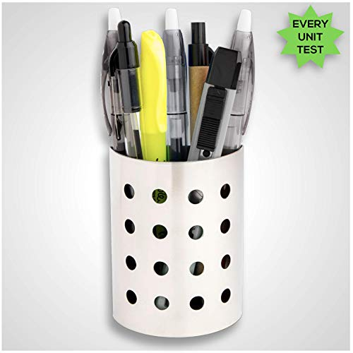 Magnetic Pen and Pencil Holder Cup for Refrigerator, Whiteboard, Locker by 7 Ruby Road - Modern Stainless Steel Metal Storage Organizer Basket for Marker, Pens, Writing Accessories, School Supplies