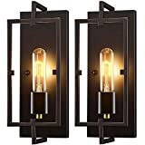 Wall Sconces Set of 2,Rustic Wall Lights with Glass Shade,Industrial Vintage Decor Wall Lighting Fixtures for Living Room,Hallway,Bedroom,Bathroom,Staircase,Kitchen,E26 Base,Hardwired,Bulb Included