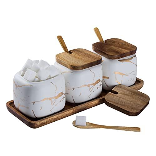 Set Zuccheriera in Ceramica, 3 pz Condimento Box con Coperchio e Cucchiaio e Vassoio, Spezia Jar Cucina Scatola Barattolo di Spezie, Utensili da Cucina Forniture per Spezie, Bianca