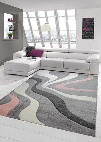 Teppich-Traum Alfombra Moderna Alfombra salón diseño con Ondas en Rosado Gris Größe 160x230 cm
