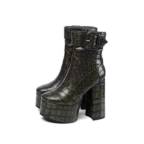 MSSugar Damenmode Stiefel Round Toe Buckle Herbst & Winter Stiefel Blockabsatz Closed Toe Booties/Stiefeletten/Minimalismus Wanderschuhe,C,42