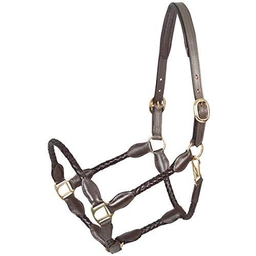PFIFF 102922 Halfter Trenza, Softleder geflochten, Schmal gehalten, Braun, Pony