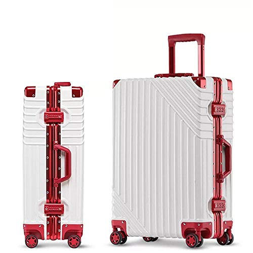 SFBBBO luggage suitcase Aluminum Rolling Luggage Spinner Girl Trolley Travel Bag Men Business Carry On Suitcases Wheel 24' white