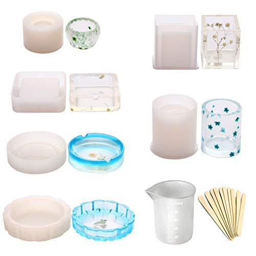 Siliconen mal 7 Stks/set Zeep Sieraden Houder DIY Gieten Accessoires Met Hout Stick Epoxy Hars Bloem Pot Coaster voor Asbak Flexibele Craft Art