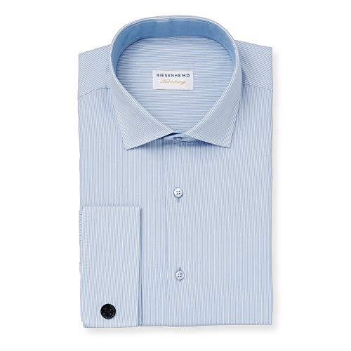 RIESENHEMD Hamburg Herren Business Hemd - Modern Fit extra Lange Ärmel - 72cm Armlänge - Übergröße Baumwolle - Kent Kragen - hellblau-weiß - Umschlagmanschette Doppelmanschette