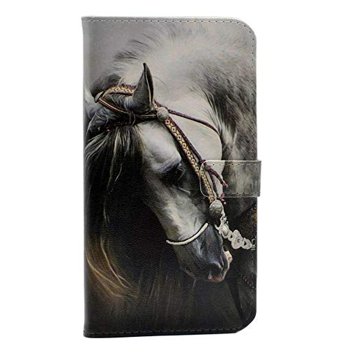 iPhone 6 6S Case Handsome Side View of a White Horse Pattern Leather Wallet Credit Card Holder Pouch Flip Stand Case Cover for Apple iPhone 6 6S