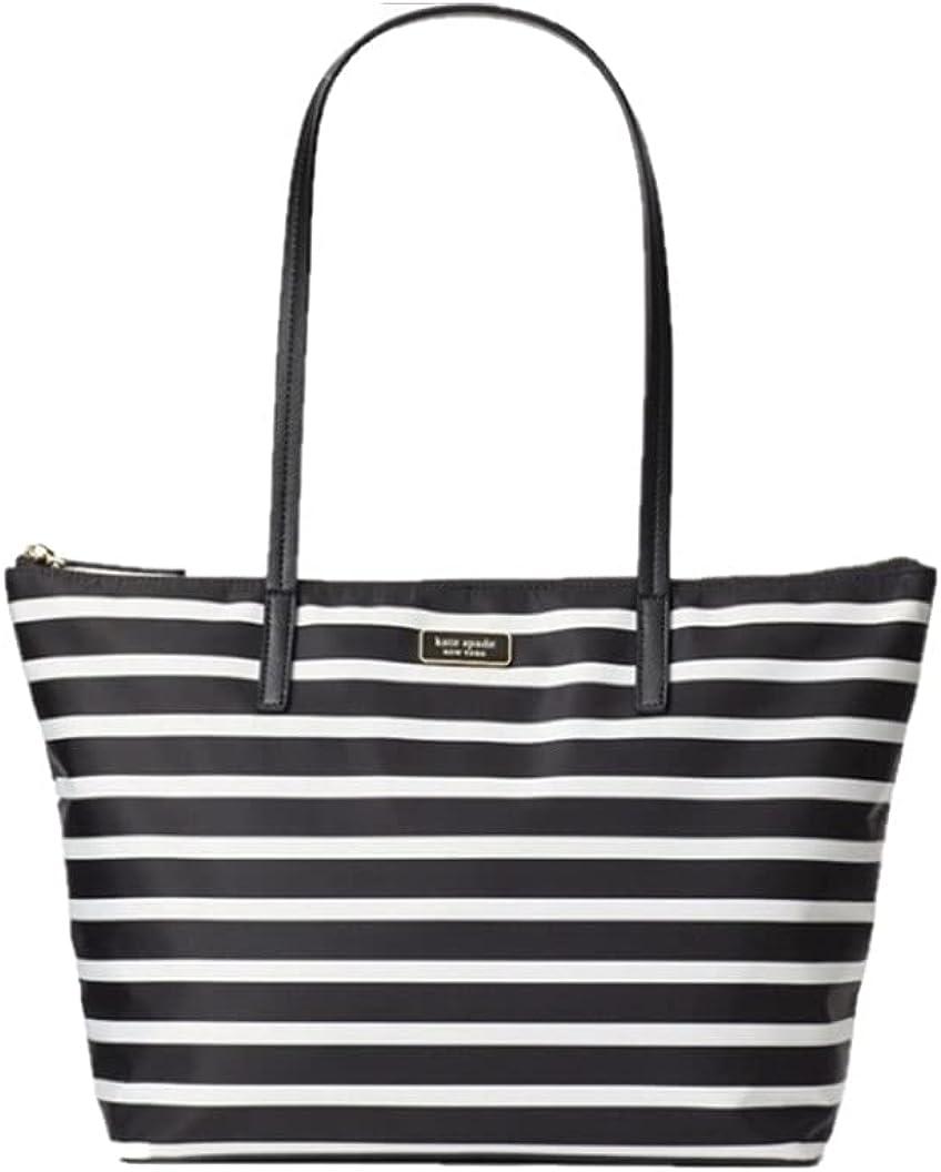 Kate Spade New York Hayden Sailing Stripe Top Zip Tote Handbag Black White