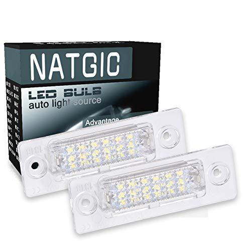 NATGIC 1 Paio di Luci per Targa a LED LED Numero Targa Luce Lampada Luce Targa a LED Luce per Targa a LED Errore CanBus Gratuito per Parcheggio Auto Lampada Esterna - Bianco