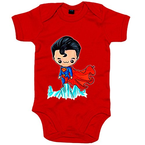 Body bebé Chibi Kawaii Superman parodia - Rojo, 6-12 meses