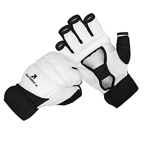KAIWENDE Kickboxing Gloves(XS,S,M,L,XL,XXL)-Also Fit for Training Men,Women,Kids of MMA,Muay Thai, Martial Arts Taekwondo Sparring Boxing Gloves (White, M)