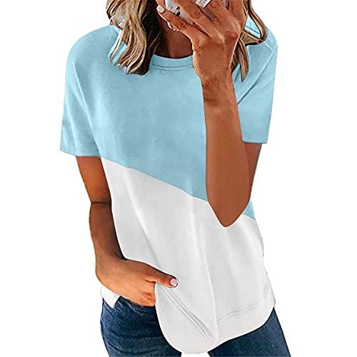 Manga Corta Mujer Shirt Elegante Cómodo Verano Cuello Redondo Empalme Mujer Tops Único Dobladillo Irregular Diseño Mujer Bluse Diario Casual Transpirable All-Match Mujer T-Shirts A-Blue White XL