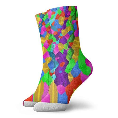 OUYouDeFangA - Calcetines Cortos de algodón con Lazo arcoíris para Adultos, Ideales para Yoga, Senderismo, Ciclismo, Correr, fútbol, Deportes