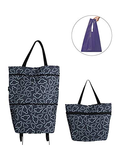 Collapsible Trolley Bags Folding Shopping Bag with Wheels Reusable Grocery Bags Fashion Rolling Shopper Tote - lightweight Capability with Durability, Heavy Duty Beefy Wheels (Black)