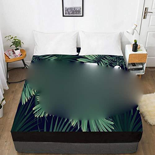 HJUYT Sábana de Cama 3D de 1 Pieza con Funda de colchón de sábana Ajustable elástica 135/150/180/200 / 160x200 Ropa de Cama de Resorte de Campo Doble Queen King