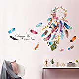 decalmile Pegatinas de Pared Atrapasueños Vistoso Pluma Flor Vinilos Decorativos Frases Dream Do Come True Adhesivos Pared Decorativos para Salon Dormitorio