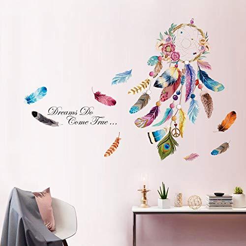 decalmile Stickers Muraux Attrape Rêves Autocollant Mural Plume Fleur Décoration Murale Salon Chambre Bébé Fille Pépinière Enfant