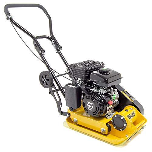 Wolf 8200N Petrol Compactor 79cc Vibrating Wacker Plate 4-Stroke Engine with Wheels and Paving Pad
