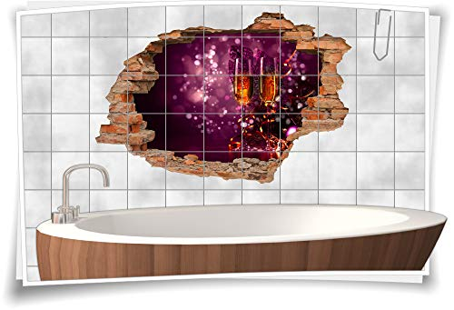 Medianlux 3D Fliesen-Bild Fliesen-Aufkleber Sekt-Gläser Party Feier Schleier Champagner Folie Sticker Digitaldruck, 90x60cm, 20x25cm (BxH)