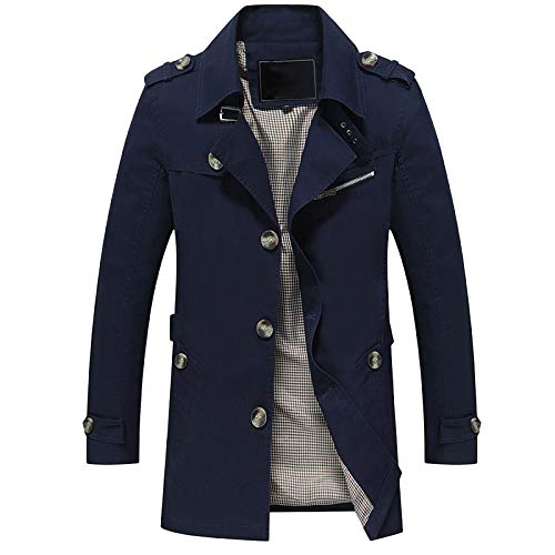 Cappotto da Uomo Casual Fashion Slim Fit Cotton Giacca da Lavoro Button Bavero Trench Capispalla