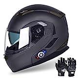Motorcycle Bluetooth Helmets, FreedConn Flip up Dual Visors Full Face Helmet, Built-in Integrated Intercom Communication...