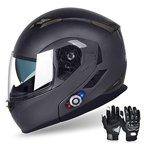 FreedConn Motorcycle Bluetooth Helmet, BM2-S Flip Up Modular Bluetooth Motorcycle Helmet Voice Dial/Hands-Free Call/ 500M/ 2-3 Riders/ MP3/ FM/DOT Motorcycle Helmet with Bluetooth 3.0